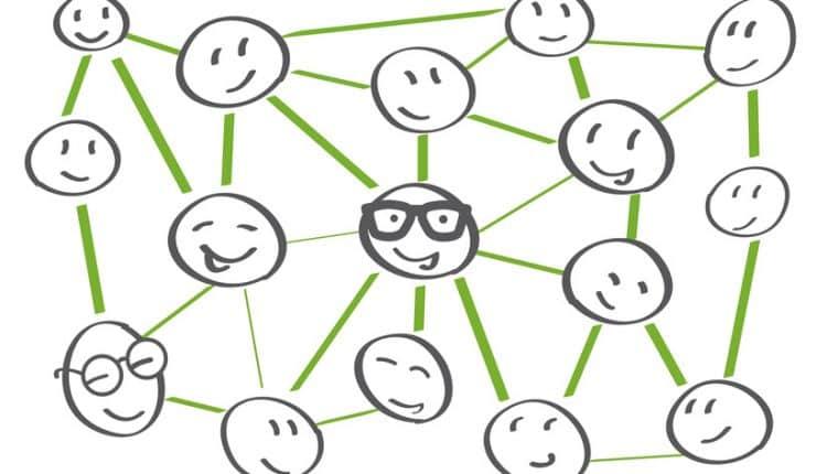 Verbindungen und Netzwerke – Strichmnnchen-Kpfe