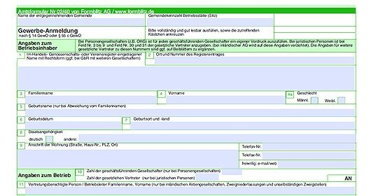gewerbeanmeldung formular