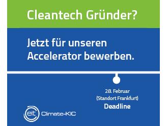 Climate KIC Accelerator Programm Bewerbungsschluß für Cleantec Startups