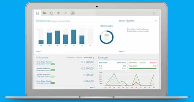 Das Dashboard gibt Dir immer einen aktuellen Überblick über Projekte, Finanzen und Arbeitszeiten.