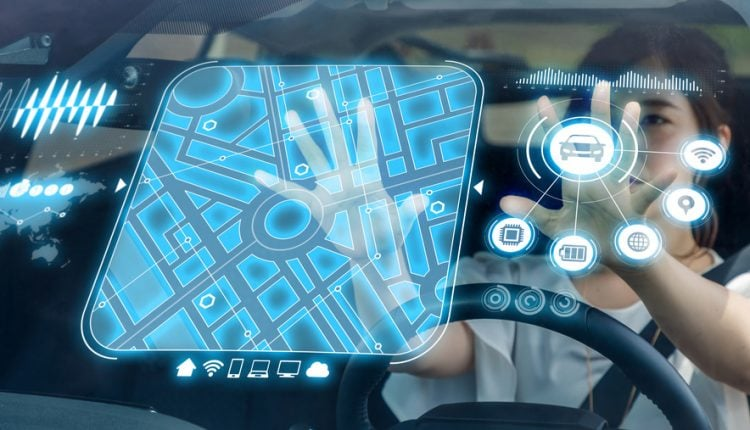 Heads up Display (HUD) of vehicle. Graphical User Interface (GUI