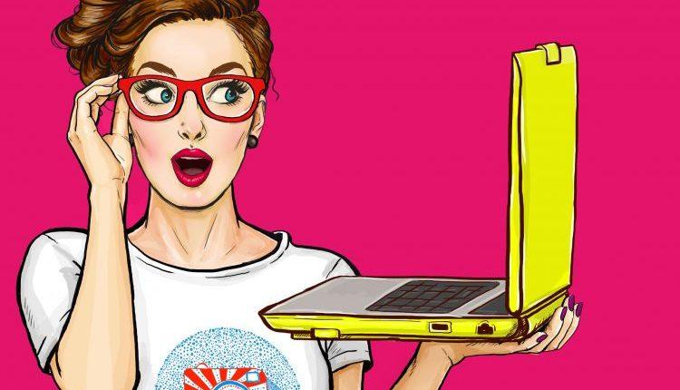 Popart-Frau-mit-Laptop