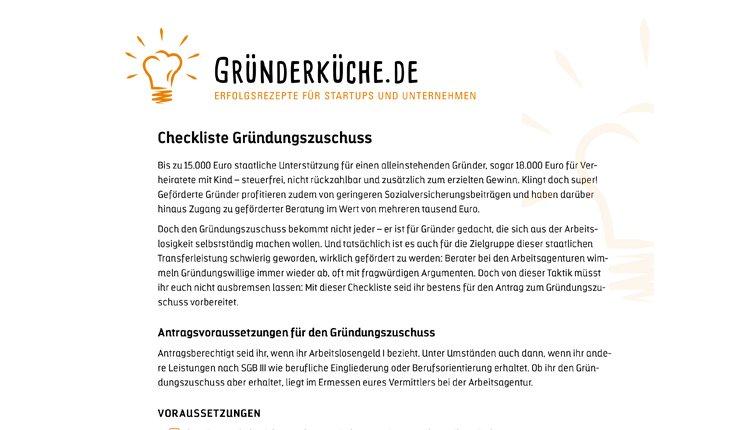Gruenderkueche-checkliste-gruendungszuschuss