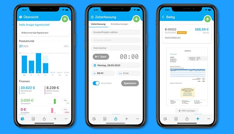 Papierkram.de - Buchhaltungsprogramm mit App für Freiberufler und KMU