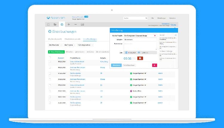 Zeiterfassung bei Papierkram.de - Buchhaltungsprogramm für Selbstständige und KMU